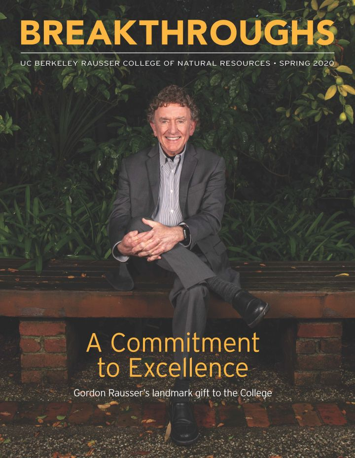Cover of spring 2020 issue showing Gordon Rausser sitting