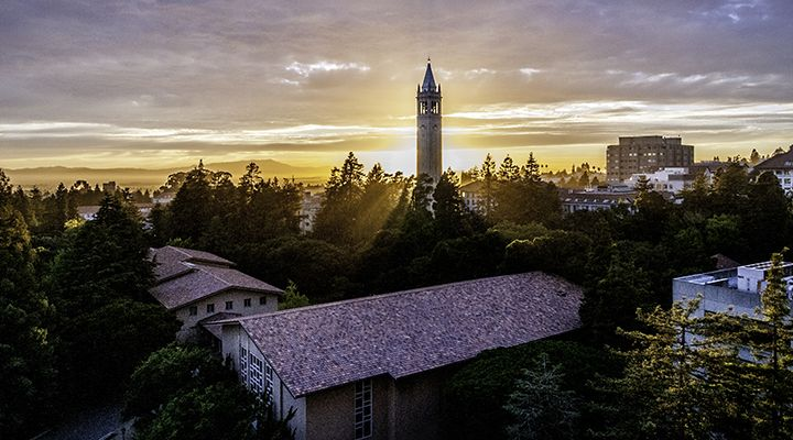 the sun setting over uc berkeley campus and campanile