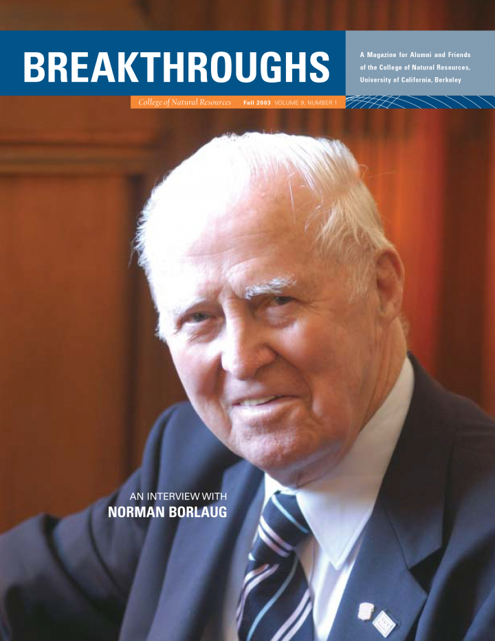 Cover of Breakthroughs Fall 2013, a picture of Normal Borlaug