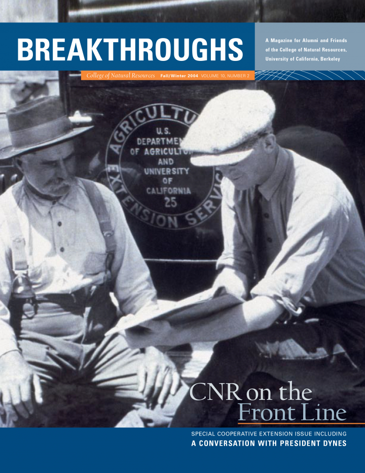 Cover of Breakthroughs Fall 2004, Old photograph of two men with a backdrop stating US department of Agriculture and University of California
