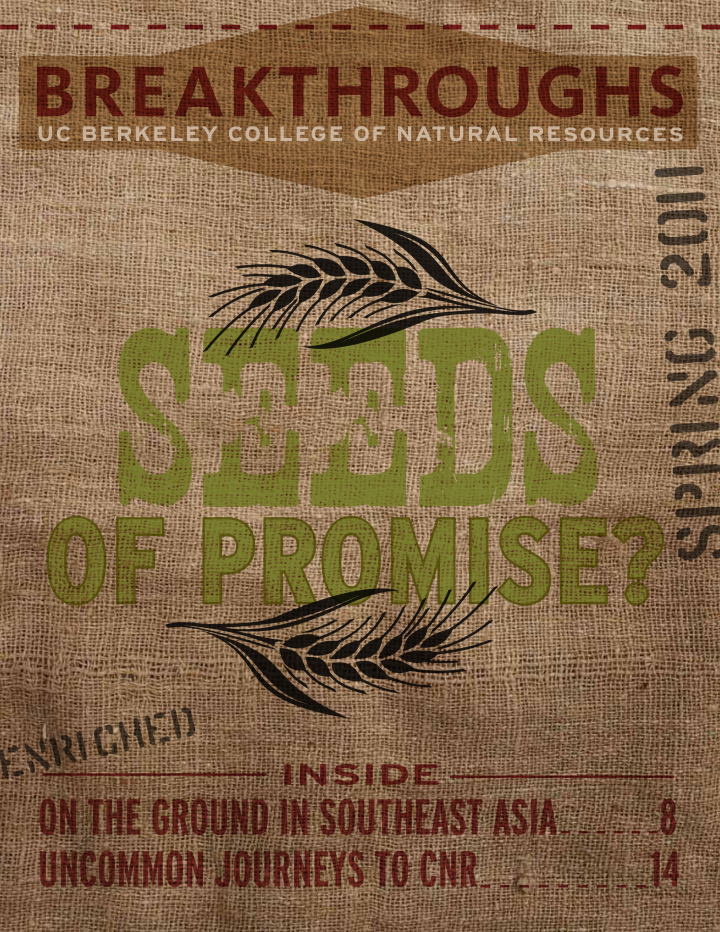 Cover of Breakthroughs Spring 2011, A seedbag with the words 'Seeds of Promise?' written on it