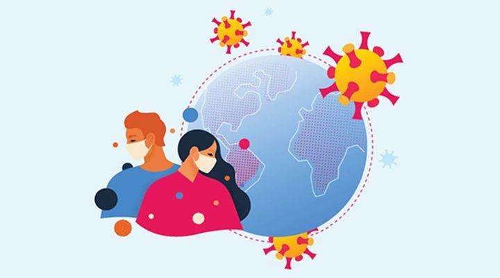 Ilustration of a globe, coroniavirus molecules, and people wearing masks