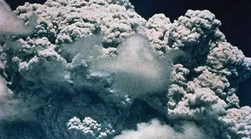 Pumping sulfate particles into the stratosphere could mimic the effects of the 1991 Mt. Pinatubo eruption, when sulfate aerosols in the atmosphere helped lower average global temperatures by preventing sunlight from reaching the ground. PHOTO: Getty Image