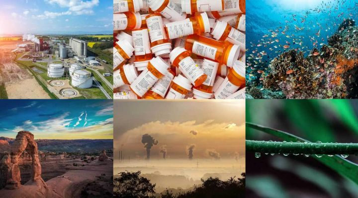 Compilation of images relating to climate change and sustainability