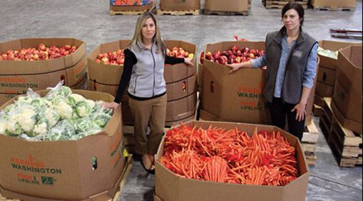 The Alameda County Community Food Bank was an early adopter in formalizing their nutrition policies. Allison Pratt and Jenny Lowe manage nutrition policy. PHOTO: Molly Oleson