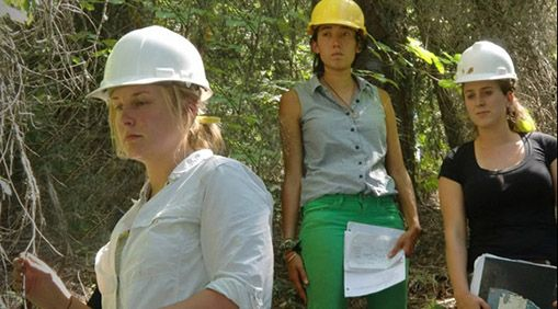 Students at class in the woods at the 2011 Forestry Camp. Left to right: Christine Stontz, Alex Christensen, and Alanna McDermott.